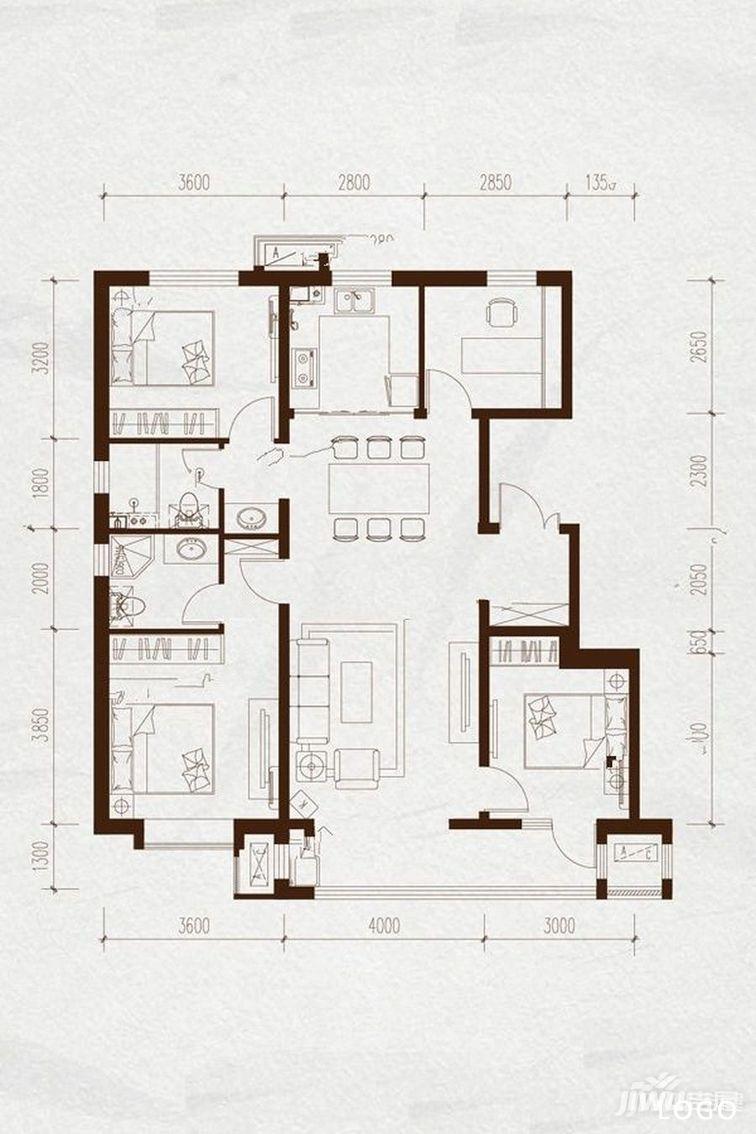 唐山路北区大户型楼盘——金域缇香二期四居室户型图